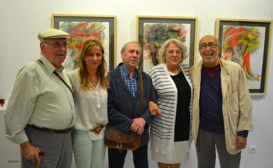 Modesto Llamas, Marga Carnero, Luis G. Zurdo, Asun Robles y Manuel Jular en la galería Ármaga. Foto: Vicente García.