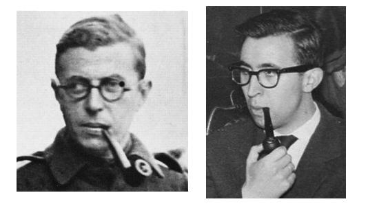 Jean Paul Jular y Manuel Sartre. Impresionante parecido. La foto de Jular (derecha) es de 1961. [Fotomontaje: E. Otero]