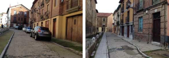 Fotografías del estado previo de las calles Capilla y Mercado. Fuente: Ayuntamiento de León.