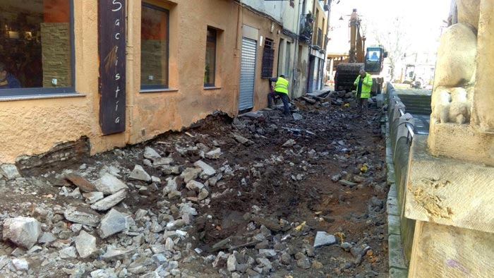 Las obras, este lunes 6 de febrero, en la calle Capilla.