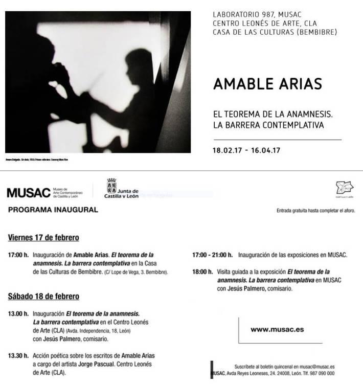 Exposición de Amable Arias en el MUSAC, el Centro Leonés de Arte (CLA) y el Centro de Culturas de Bembibre.