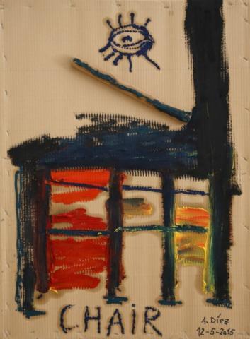 """""""Chair"""". Óleo sobre cartón de Alberto Díaz."""