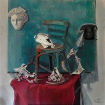 """María Ángeles Bret. """"Sin título"""". Óleo sobre tabla. 100 x 100 cm."""