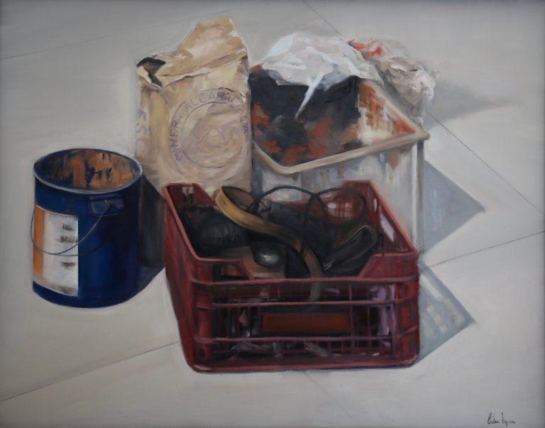 "Cristina López Gaztelumendi. ""Desperdicios artístisticos"". Óleo sobre tabla. 72 x 91 cm."