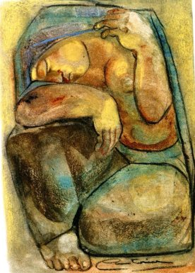 """""""Campesina descansando"""" (1005). Dibujo de la artista y escultora Castorina."""