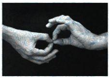 Tatiana Parcero Actos de fe 7 (Manos azul formando anillos), 2003 Colección MUSAC