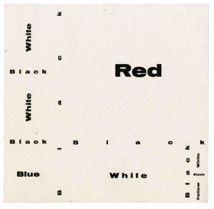 José Luis Castillejo Exposición por correspondencia. Composition wiht Red, Blue and Yellow [cartón Zaj], 1966. Archivo Lafuente