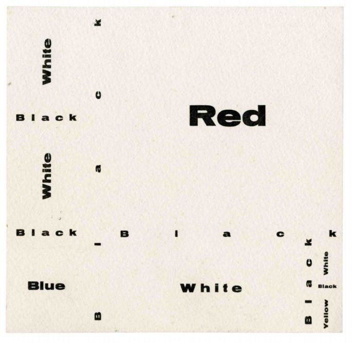 José Luis Castillejo Exposición por correspondencia. Composition wiht Red, Blue and Yellow [cartón Zaj], 1966. Archivo Lafuente