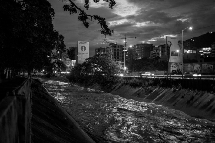 View of the Guaire River at dusk in Caracas.