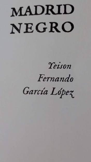 'Madrid negro', un poemario de Yeison Fernando García López.