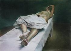 2. Sábana 3 (Tríptico de la sábana bajera), pastel sobre papel, 70x50cm