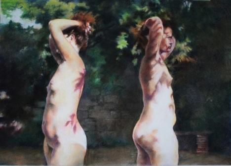 4. Doble desnudo, pastel sobre papel, 70x50 cm