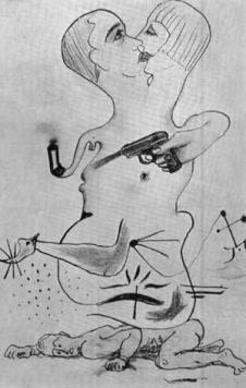Cadáver exquisito dibujado por Man Ray, Yves Tanguy, Joan Miró y Max Morise en 1928.