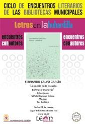 Cartel _Poesía y escuela_ Fernando Calvo