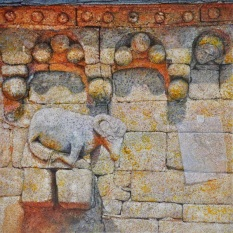 """Ángel Cantero. """"Tres"""". Técnica mixta sobre tabla. 50 x 50 cm."""