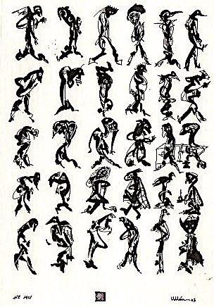 """Dibujo de José-Miguel Ullán. """"Ni mu"""", 2002."""