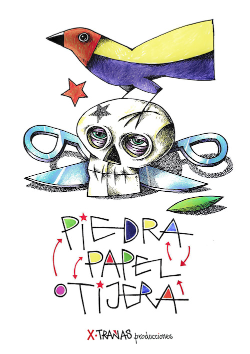 Cartel d Manuel Sieerra para el espectáculo 'Piedra, Papel y Tijera' de Xtrañas Producciones.