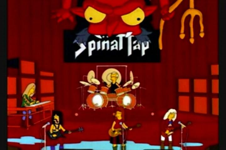 Spinal Tap es un falso grupo inventado para un falso documental. Apareció luego en Los Simpson, que contribuyeron a la fantasía.jpg
