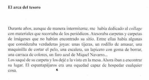 Un texto de la carpeta 'espantapájaros y un sonajero', de Tomás Salvador González.