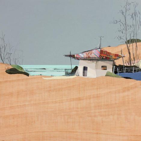 Eduardo Gómez Query. 'Luz de mayo'. Collage y grafito sobre madera.