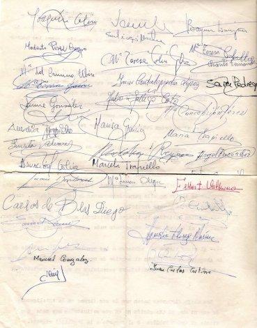 Segundo de los siete folios de firmas (1970).