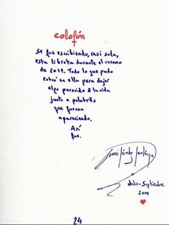 Colofón de Tomás Sanchez Santiago a su libreta.