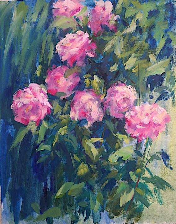 "Obra de Gloria G. Pertejo. ""Rosas rosas""."